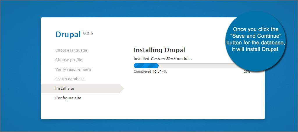 Drupal Installing Screen