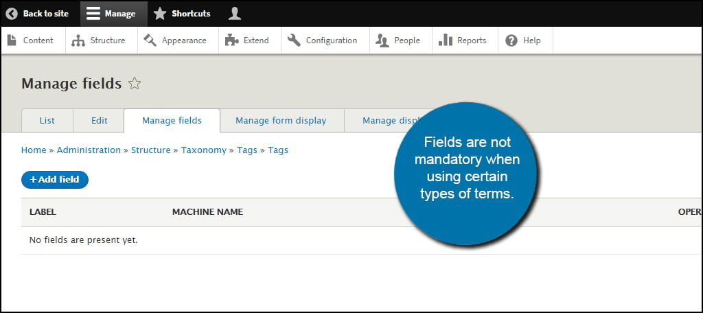Drupal Manage Fields