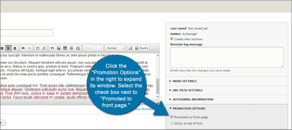 Drupal Promote Front Page