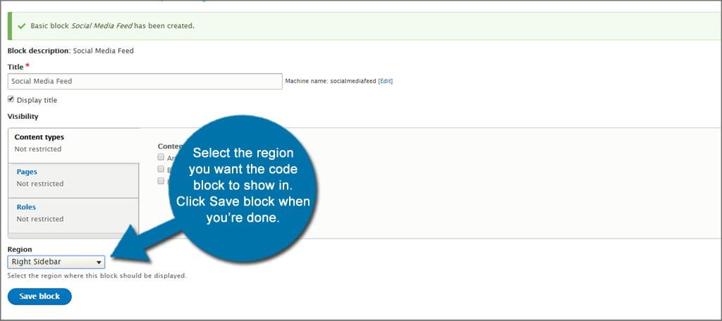 Drupal Save Code Block