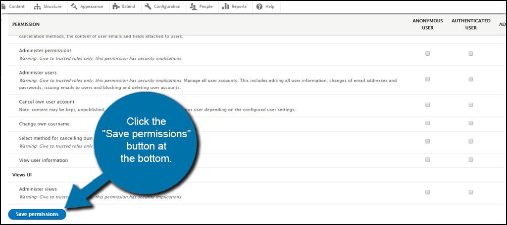 Drupal Save User Permissions