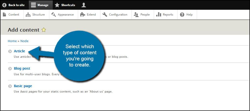 Drupal Select Content Type