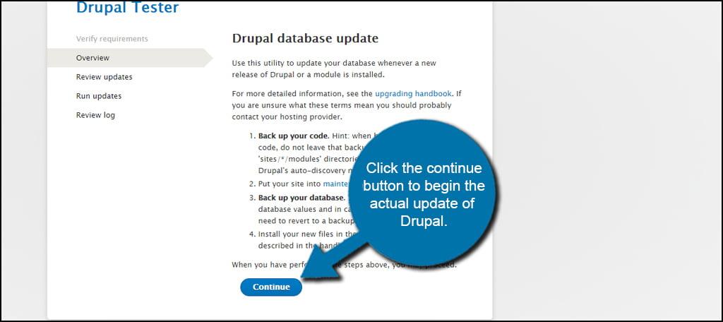 Drupal Update Continue