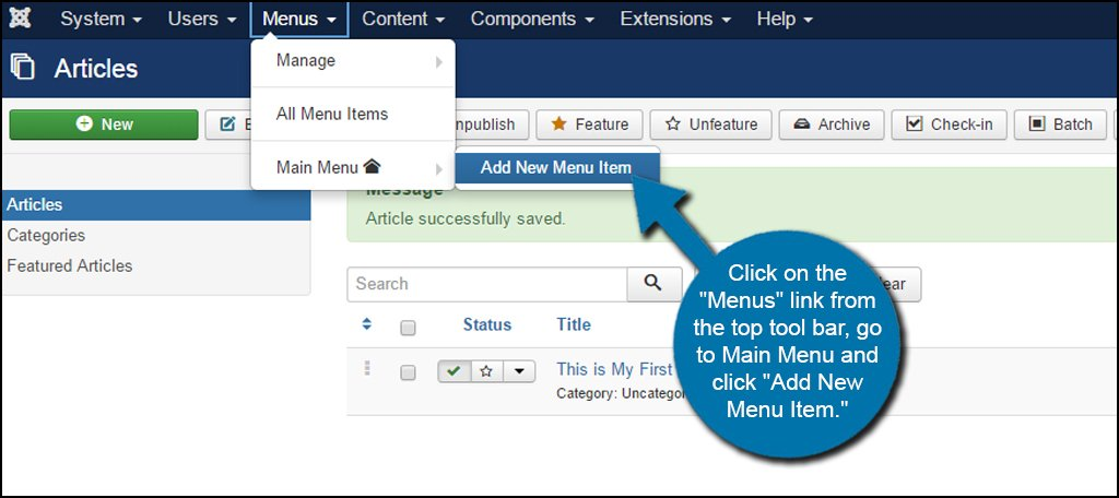 Joomla Add New Menu Item