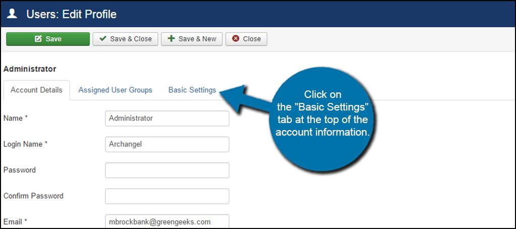 Joomla Admin Basic Settings