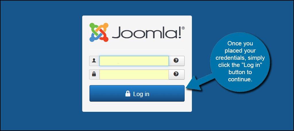 Joomla Admin Log In Button