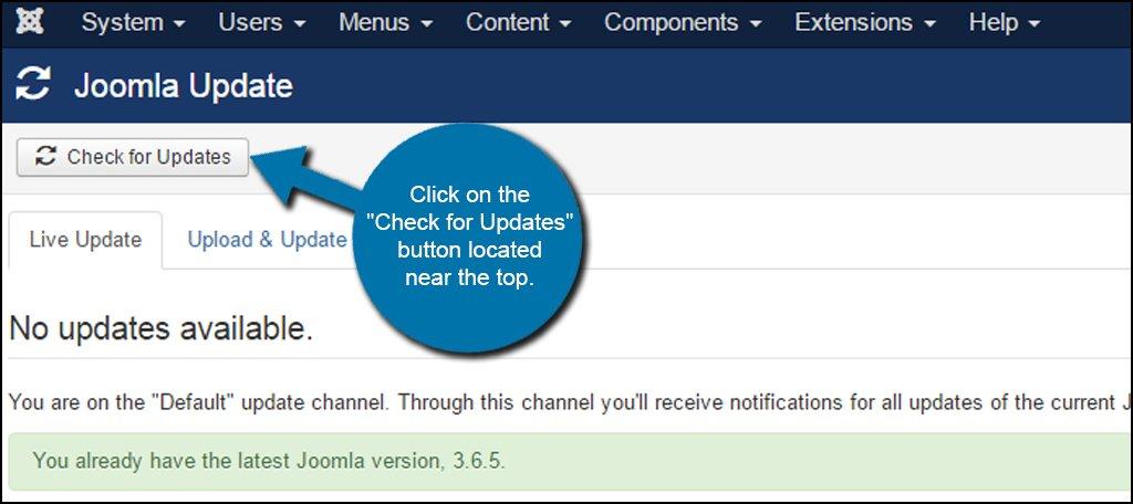 Joomla Check For Updates