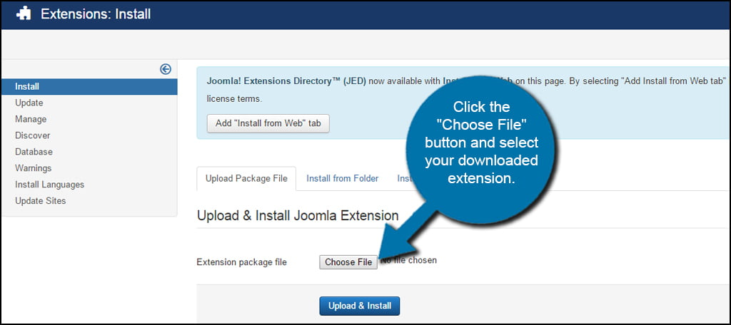 Joomla Extension Choose File
