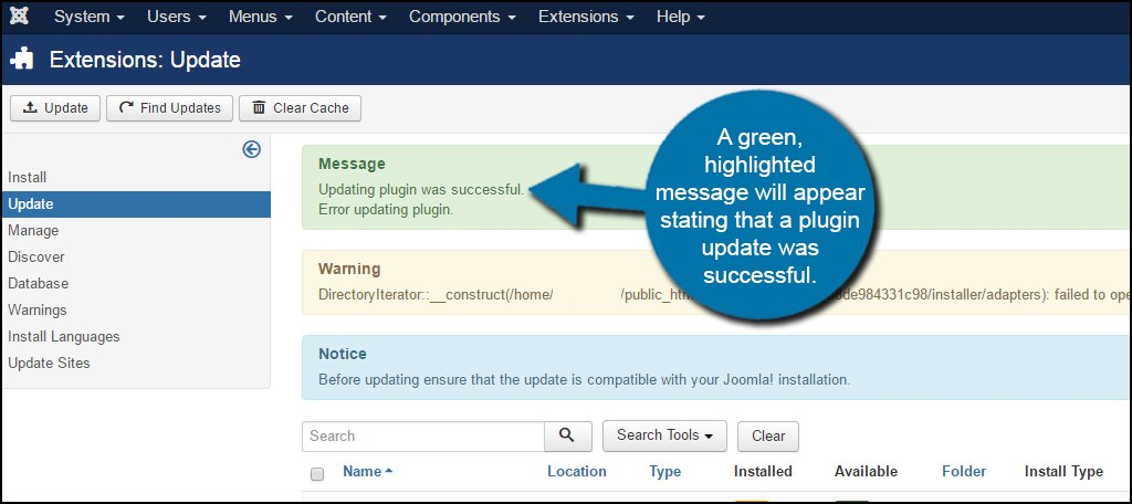 Joomla Extension Update Success