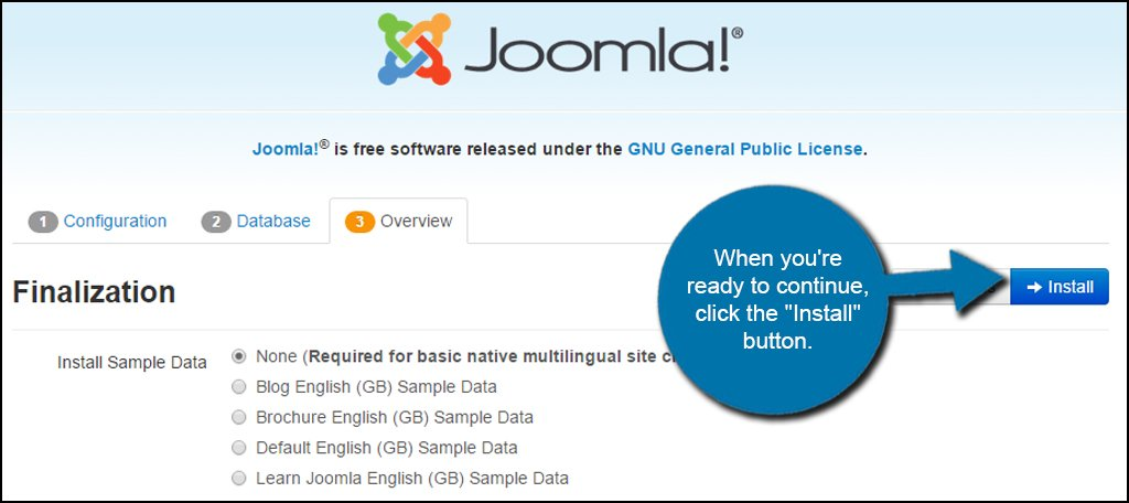 Joomla Install Button