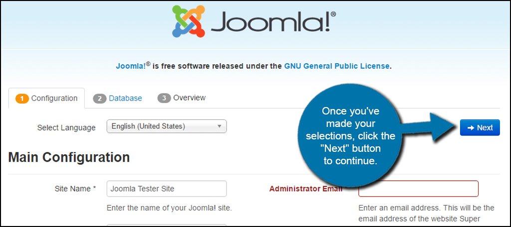 Joomla Install Configuration