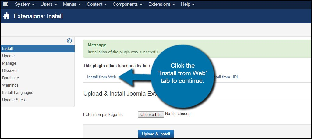 Joomla Install From Web Tab
