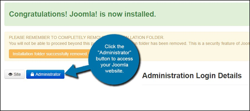 Joomla Install Success