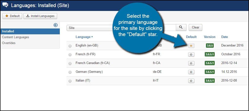 Joomla Language Default