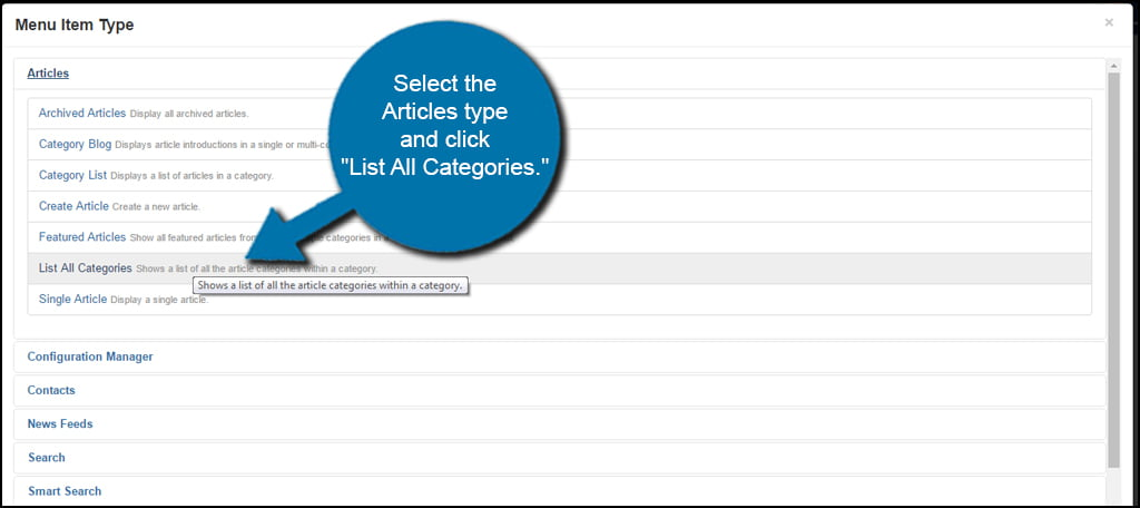 Joomla List All Categories