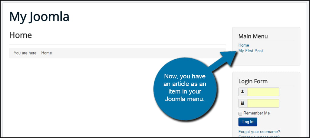 Joomla Menu Item Display