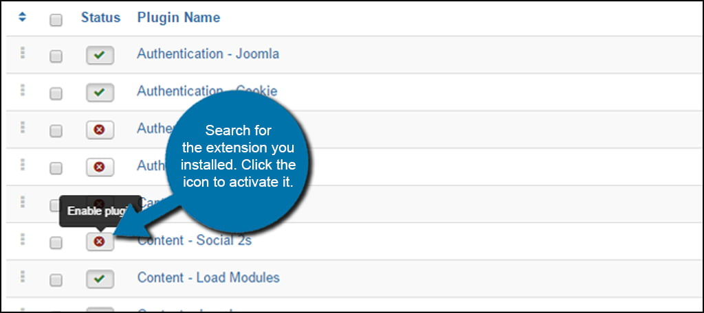 Joomla Plugin Activate