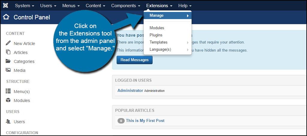 Joomla Remove Extension Manage