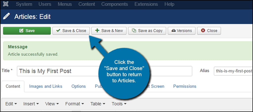 Joomla Save and Close