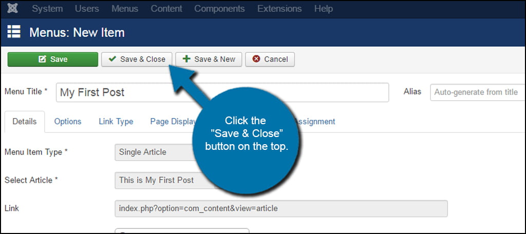 Joomla Save Close Menu Item