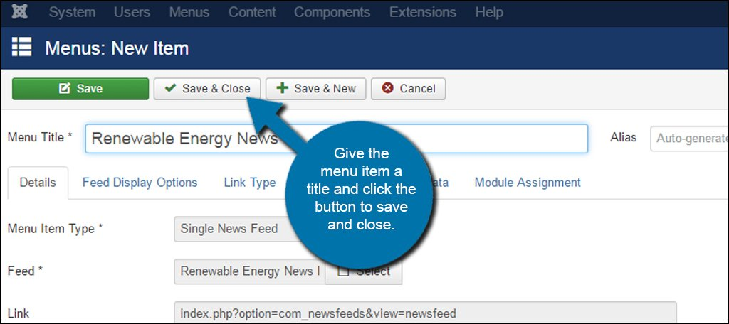 Joomla Save News Feed