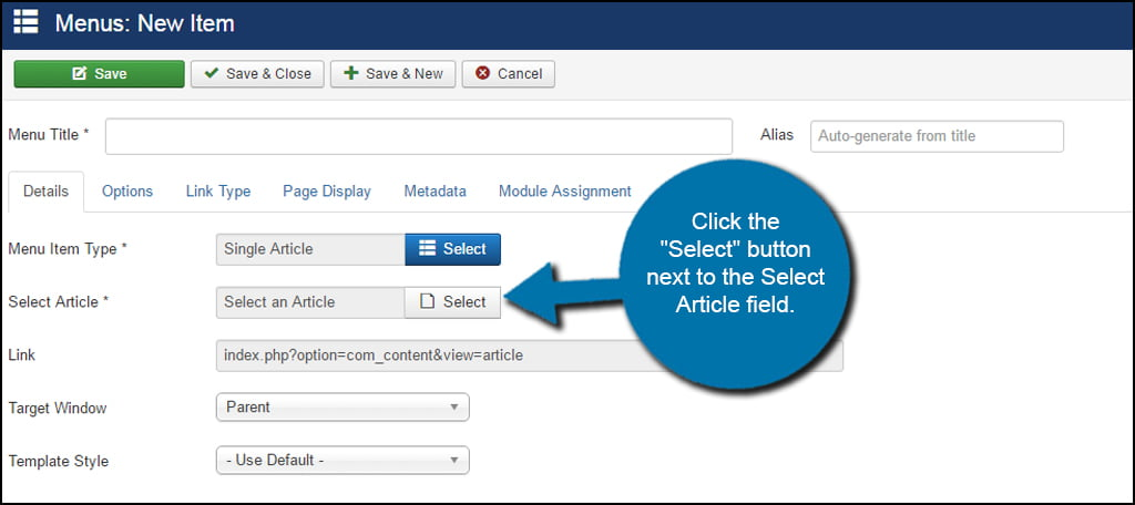 Joomla Select Article