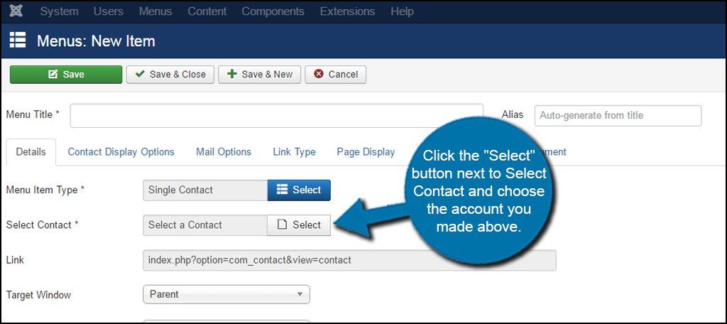 Joomla Select Contact