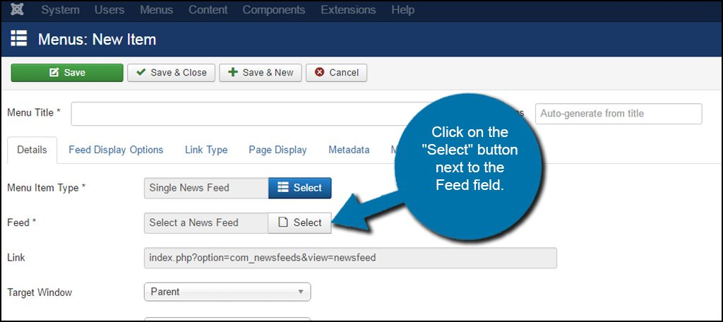 Joomla Select Feed