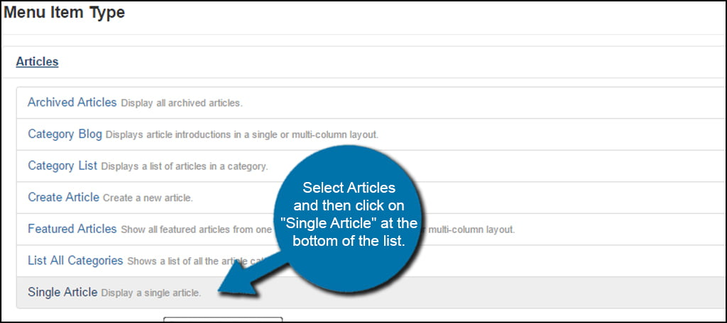 Joomla Select Single Article