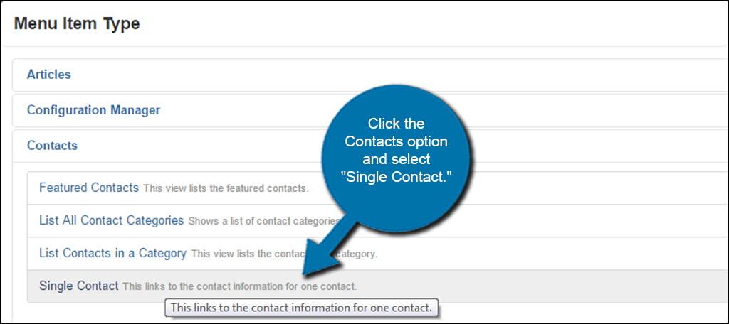 Joomla Single Contact