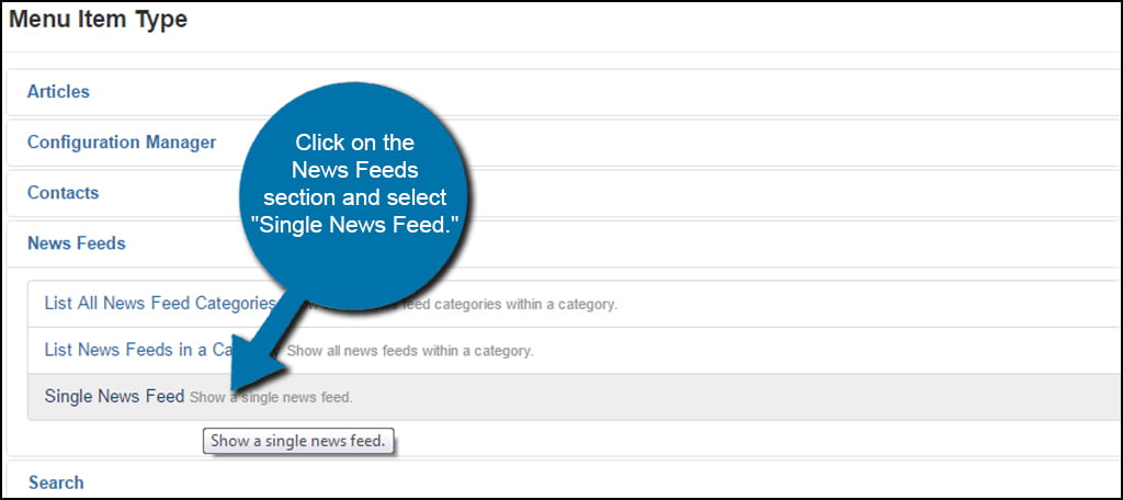 Joomla Single News Feed