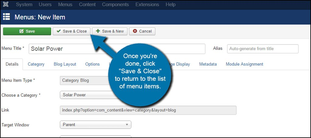 Joomla Submenu Item Save