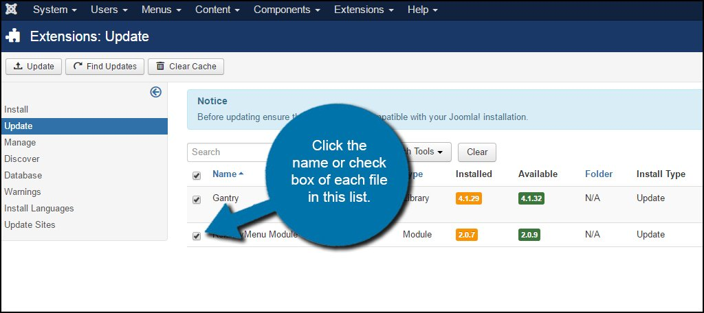Joomla Update Select