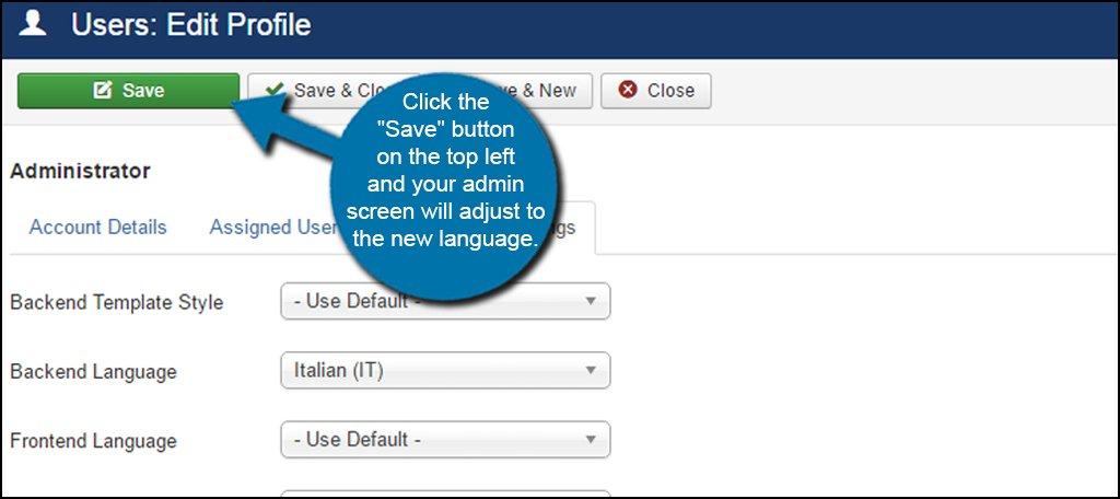 how to change power save language