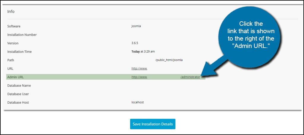 Softaculous Joomla Admin Link