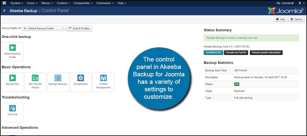 Akeeba Control Panel