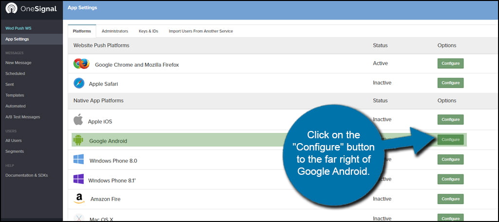 Google Android Configure