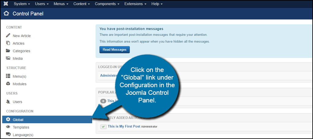 Joomla Global Configuration