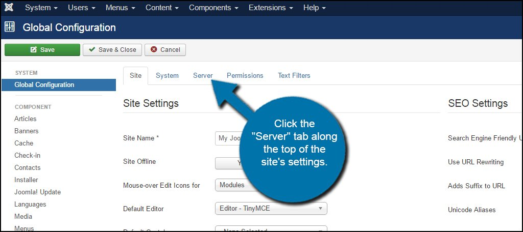 Joomla Server Settings