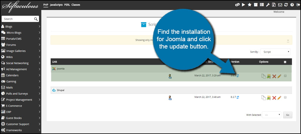 Joomla Update Button