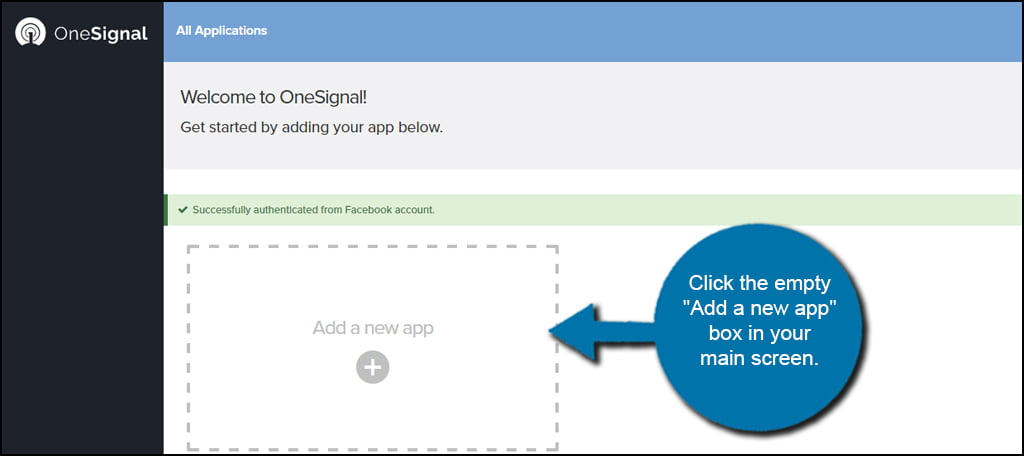 OneSignal Add New App