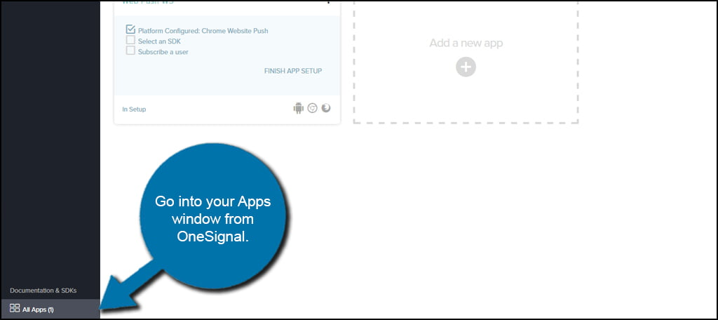 OneSignal Apps Window