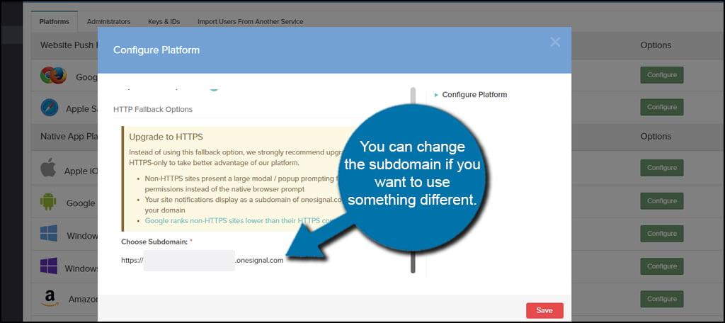 OneSignal Change Subdomain
