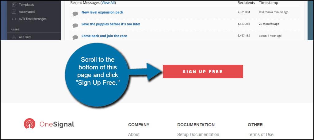 OneSignal Sign Up Free