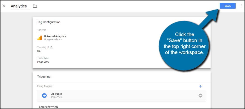 Save Analytics Tag
