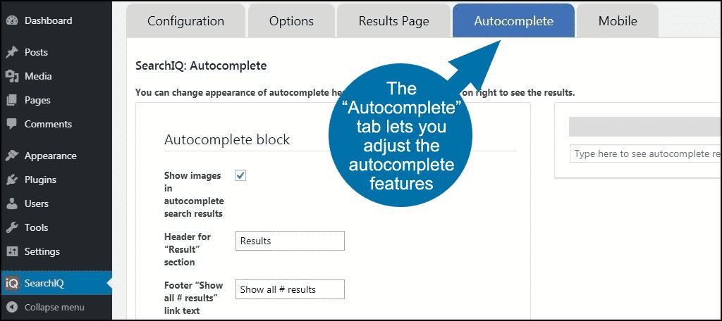 autocomplete tab