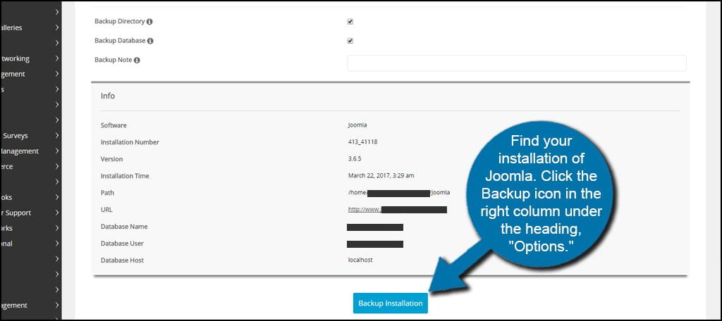 Softaculous Backup Joomla