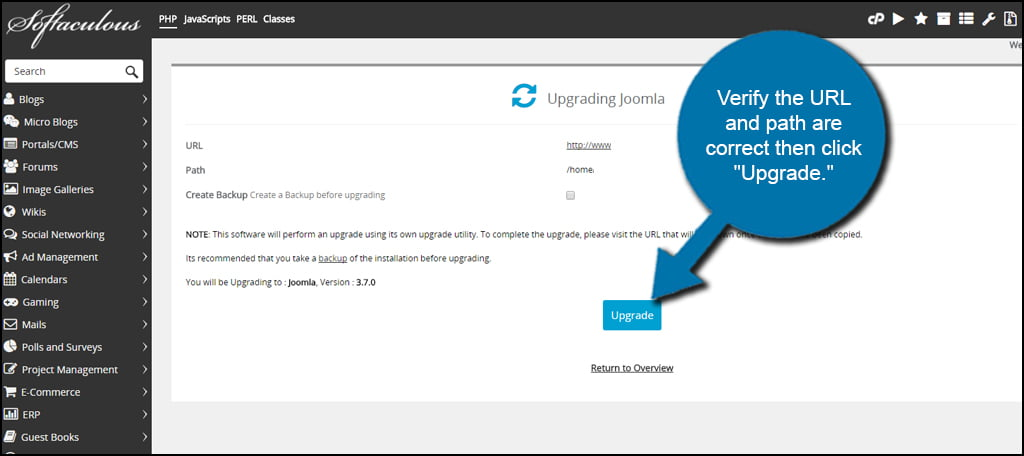 Softaculous Upgrade Joomla