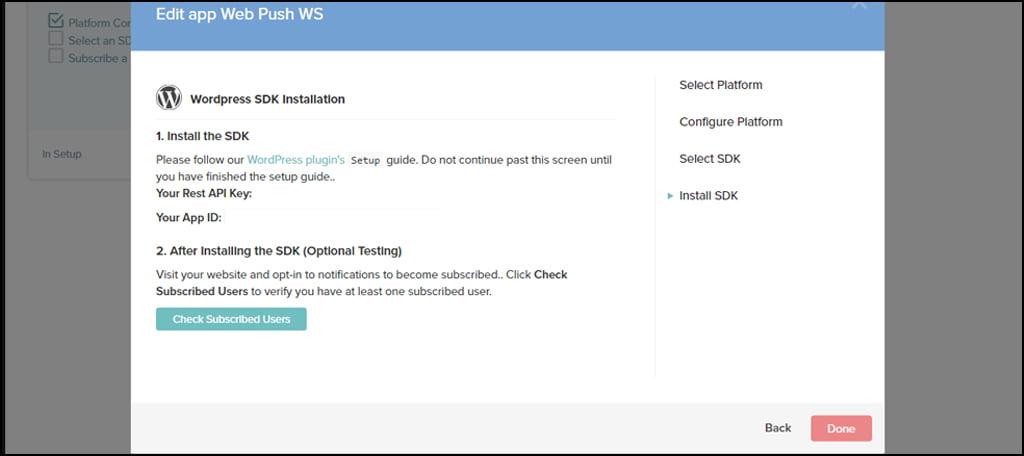 WordPress SDK Installation
