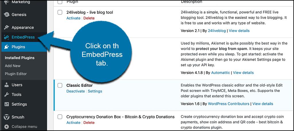 Click EmbedPress tab.